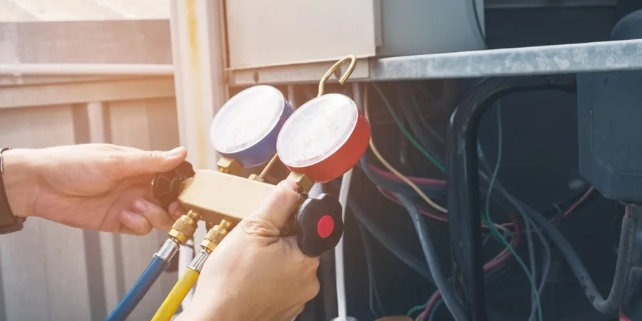 HVAC system being repaired
